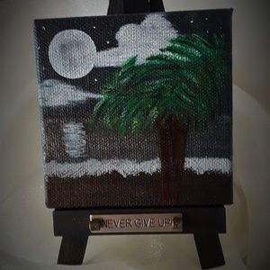 "Never Give Up -  3""x 3"" mini canvas original"